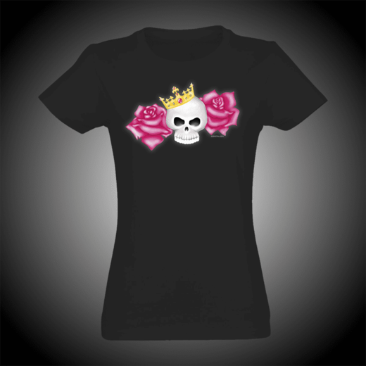 SKULL AND ROSES SLIM FIT T-SHIRT (19061)